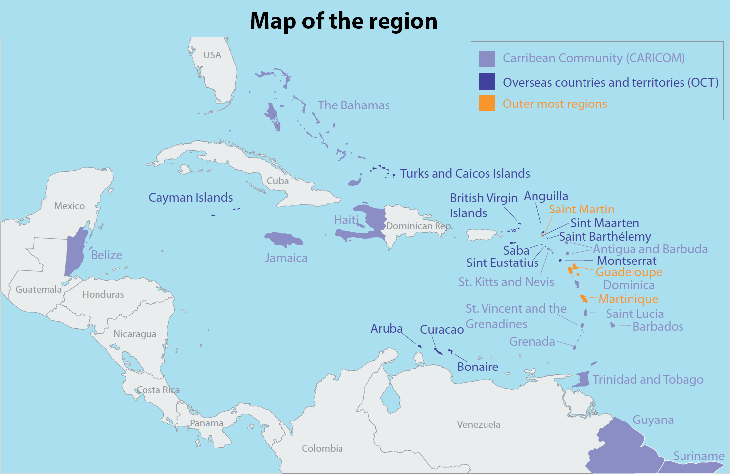 This is a photo of Resource Printable Map of the Caribbean