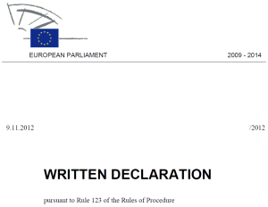 Written declaration screenshot