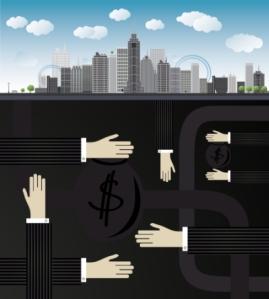Shadow economy illustration. Hand, giving money