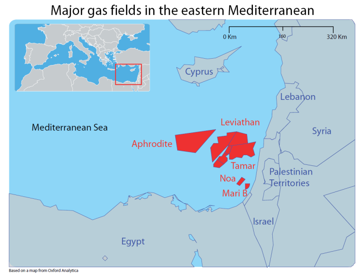 Major gas fields in the eastern Mediterranean