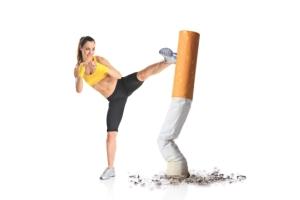 Girl kicking a cigarette
