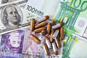 Banknotes with bullets