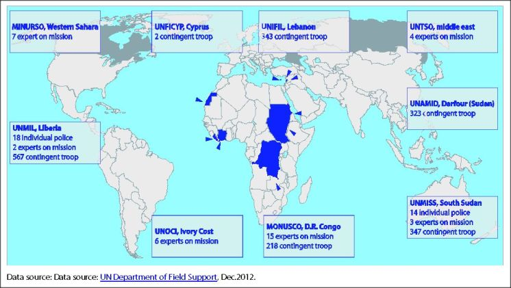 UN missions in 2012 with Chinese troop contributions