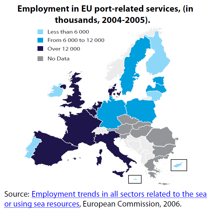 Employment in EU port-related services, (in thousands, 2004-2005)