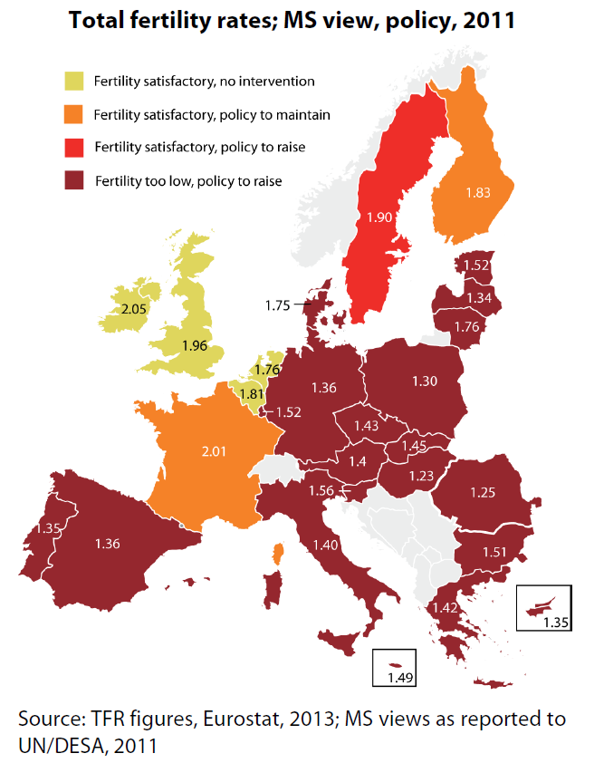 Total fertility rates; MS view, policy, 2011