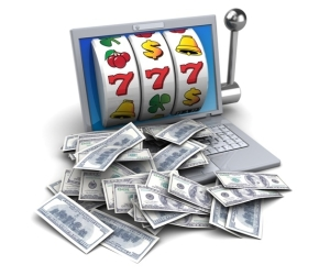 Illustration of jackpot with laptop and money
