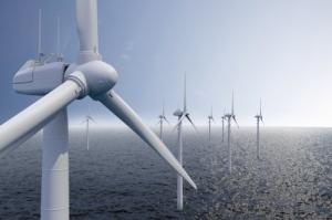 Wind park on ocean with blue sky