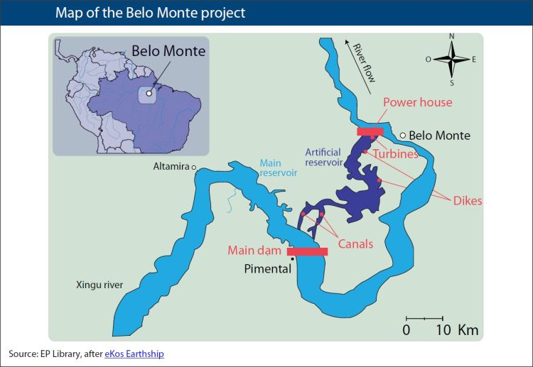 belo monte dam The belo monte hydropower plant features two powerhouses, one with 18 francis turbine-generator units and a total capacity of 11,000 mw and another (called pimental) with a total capacity of 233 mw.
