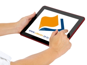Tablet wit Library's website address