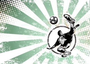 Illustration of soccer playar on grungy background