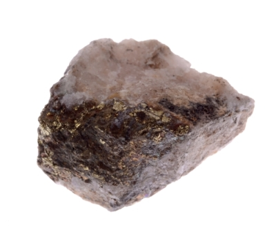 Mineral chalcopyrite  isolated on a white background