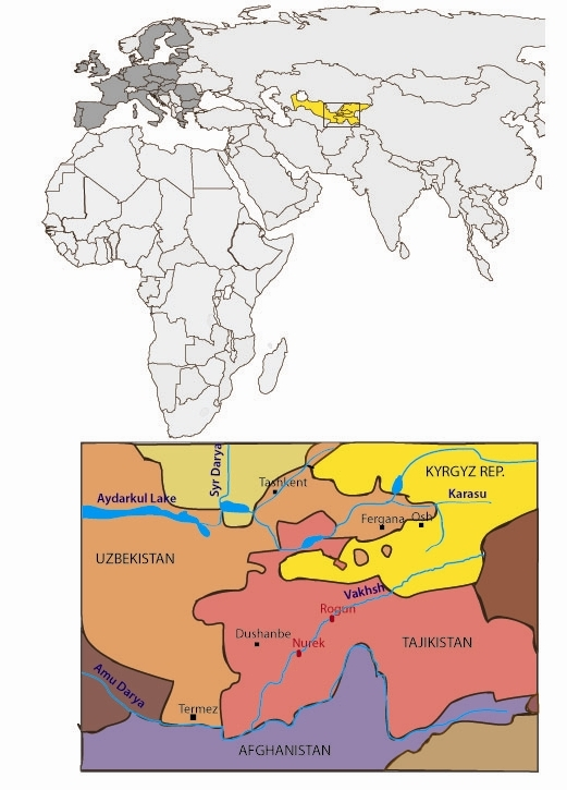 Tajikistan dam map