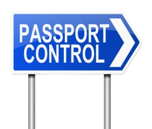 Passport control sign