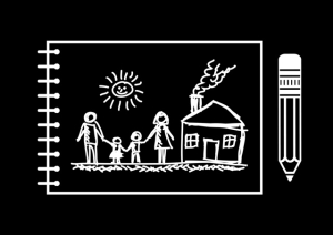 Drawing of family and house
