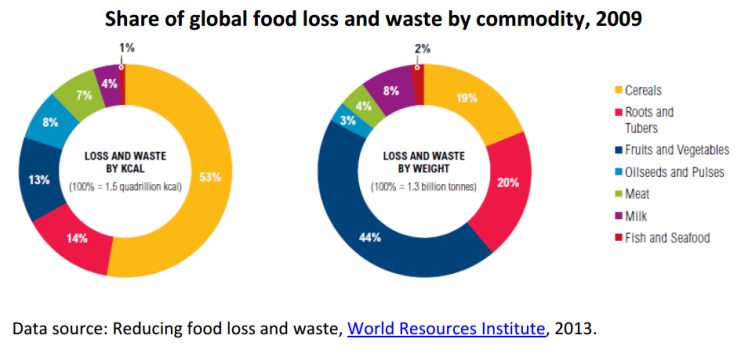 Share of global food loss and waste by commodity, 2009