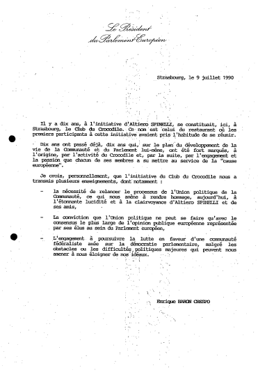 Speech given by Enrique Barón Crespo, President of the EP, on the 10th anniversary of the Crocodile Club. Historical Archives PE3 P1 211/SESS SESS-1989-060 0040