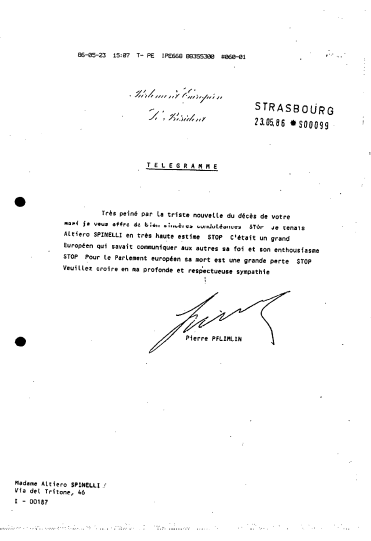Telegram sent by Pierre Pflimlin, President of EP, to Altiero Spinelli's wife after his death, Historical Archives PE2 P1 322/MEPS MEPS-1984-020 0020