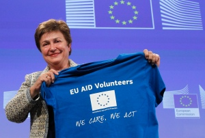 Kristalina Georgieva, Member of the EC in charge of International Cooperation, Humanitarian Aid and Crisis Response gives a news conference on the EC proposal for a Regulation on the setting up of the European Voluntary Corps in Humanitarian Aid Ð a new body envisaged by the Treaty of Lisbon