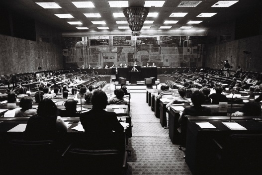 The first hemicycle of the European Parliament