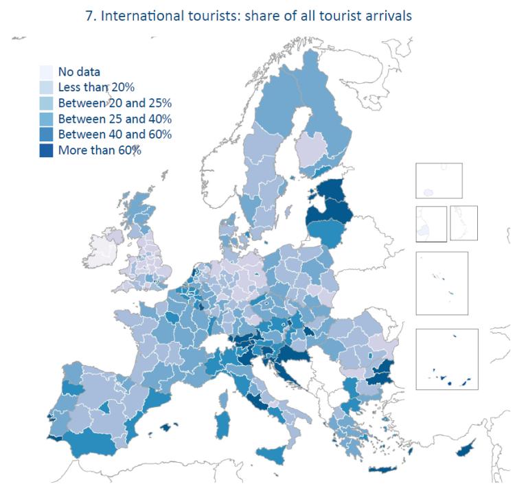 International tourists: share of all tourist arrivals