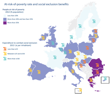 At-risk-of-poverty rate and social exclusion benefits