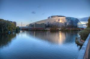 Autumn season - the European Parliament in Strasbourg - Ill river