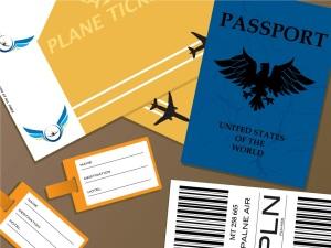 Passports and flight tickets