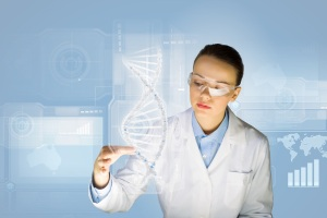 A woman scientist checking DNA