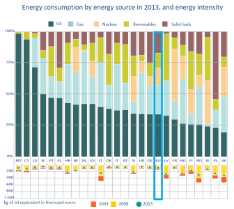 Energy consumption by energy source and energy intensity in 2013
