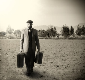 A man with suitcases