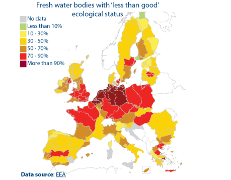 Fresh water bodies with 'less than good' ecological status