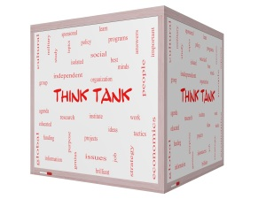 Think Tank Word Cloud Concept on a 3D cube Whiteboard