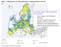 Movements in milk production at regional level in the EU