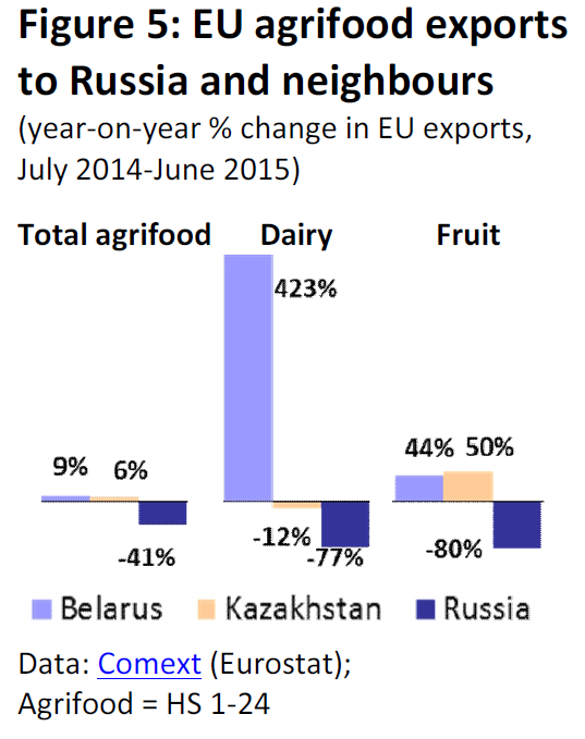 EU agrifood exports to Russia and neighbourgs (year-on-year % change in EU exports, July 2014-June 2015)