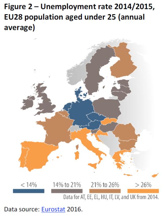 Map Of Uk Unemployment.Unemployment Rate 2014 2015 Eu28 Population Aged Under 25 Annual
