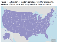 Allocation of electors per state, valid for presidential elections of 2012, 2016 and 2020, based on the 2010 census