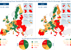 GDP in Purchasing Power Standard (PPS) per inhabitant by NUTS 2 region (2004 and 2014)