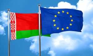 Belarus flag with european union flag