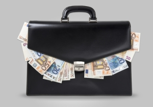 A briefcase with money