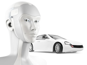 Modern robot and sports car on white background