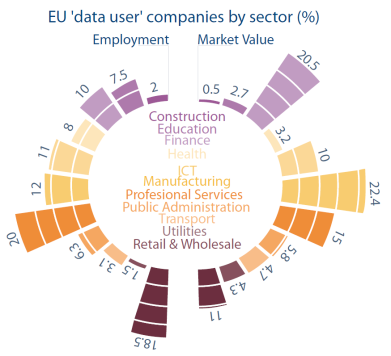 EU 'data user' companies by sector (%)