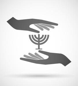 Illustration of two hands protecting or giving a chandelier