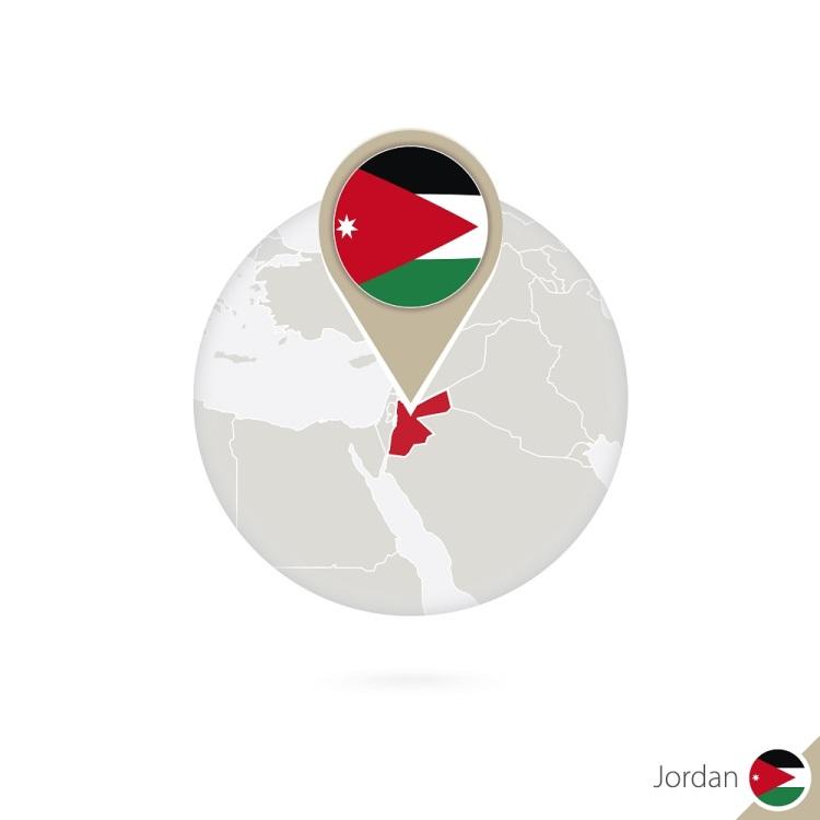 `Jordan map and flag in circle. Map of Jordan, Jordan flag pin. Map of Jordan in the style of the globe. Vector Illustration.