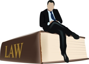 A man sitting on a law book