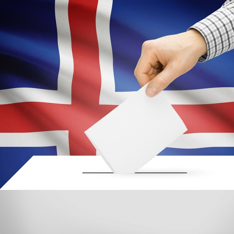Ballot box with national flag on background - Iceland