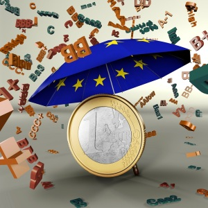 Euro coin under umbrella