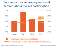 Indonesia total unemployment and female labour market participation
