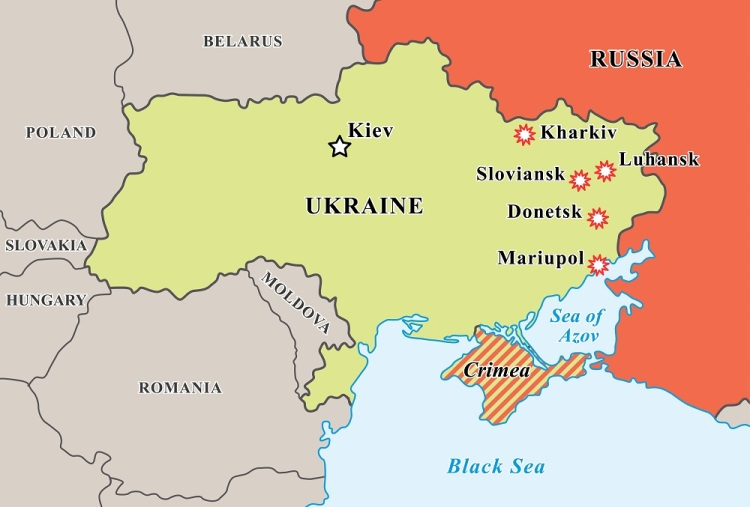 Ukraine crisis map. Pro-russians protests in the eastern cities ...