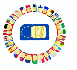 SIM cards represented as flags of European Union countries