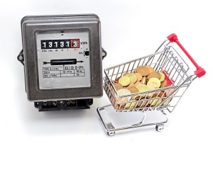 shopping cart full of European currencies and the meter of the family consumption